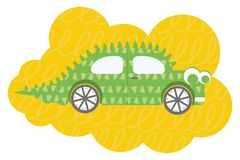 Illustration plate de vecteur de voiture de Dino de bande dessinée illustration de vecteur