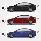 Illustration plate de vecteur de voitures électriques dans la palette différente Facile au recolor illustration libre de droits