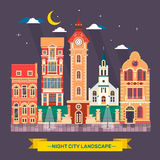 Illustration plate de ville de nuit de paysage d'horizon urbain de ville Images stock