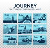 Illustration plate de voyage avec différents points de repère sur le fond transparent Voyage Pays qui vaut la visite illustration libre de droits