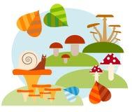 Illustration plate Forêt de conte de fées pendant l'été Illustration Stock