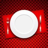 Illustration with plate, fork and knife vector illustration