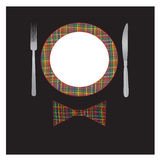 Illustration with plate, fork and knife Royalty Free Stock Photos