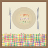Illustration with plate, fork and knife Royalty Free Stock Photography