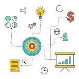 Illustration plate infographic de vecteur de conception de stratégie commerciale Image libre de droits