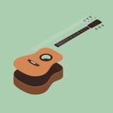 Illustration plate isométrique de vecteur de conception de guitare acoustique Images libres de droits