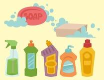 Illustration plate liquide de vecteur des travaux domestiques de bouteille de détergent de produit de soin de lavage de nettoyage Photos libres de droits