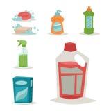 Illustration plate liquide de vecteur des travaux domestiques de bouteille de détergent de produit de soin de lavage de nettoyage Photos stock