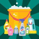 Illustration plate liquide de vecteur des travaux domestiques de bouteille de détergent de produit de soin de lavage de nettoyage Photographie stock