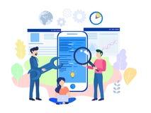 Illustration plate mobile de vecteur de procédé de développement d'applications illustration de vecteur
