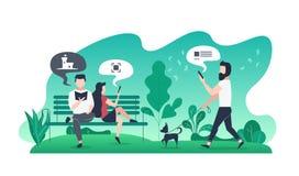 Illustration plate moderne avec des couples sur le banc en parc et type avec le chien sur la promenade Photographie stock