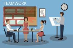 Illustration plate moderne de vecteur de conception, concepts de procédé de travail d'équipe et succès dans les affaires illustration stock