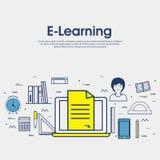 Illustration plate pour l'éducation en ligne Photographie stock libre de droits