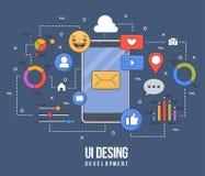Illustration plate pour la conception d'ui-UX, web design, développement mobile d'apps Ligne colorée plate moderne concept constr Illustration de Vecteur