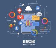 Illustration plate pour la conception d'ui-UX, web design, développement mobile d'apps Ligne colorée plate moderne concept constr Illustration Libre de Droits