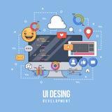 Illustration plate pour la conception d'ui-UX, web design, développement mobile d'apps Ligne colorée plate moderne concept constr Illustration Stock