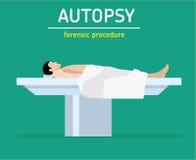 Illustration plate Procédure légale L'autopsie L'homme est une victime de meurtre illustration stock