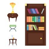 Illustration plate réglée de vecteur d'icône de concept de décor de maison de conception intérieure de pièce de meubles Photographie stock libre de droits