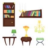 Illustration plate réglée de vecteur d'icône de concept de décor de maison de conception intérieure de pièce de meubles Photos libres de droits