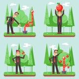 Illustration plate réglée de vecteur de conception de Watering Growth Infographic d'homme d'affaires réussi Image stock