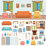 Illustration plate réglée de vecteur de conception intérieure de pièce de meubles et d'icône à la maison de concept de décor Photographie stock libre de droits