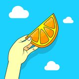 Illustration plate simple de vecteur d'art d'une main avec une orange illustration stock