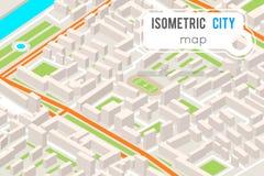 Illustration plate urbaine isométrique de vecteur de conception de la ville 3d de point de repère d'endroit de carte de route de  Photo libre de droits