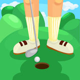 Illustration  play golf. On green Stock Image