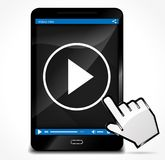 Play video on mobile phone. Illustration of play video on mobile phone concept Stock Image