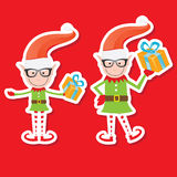Illustration of the playful Santa elves Stock Photo
