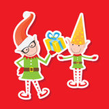 Illustration of the playful Santa elves Royalty Free Stock Photo