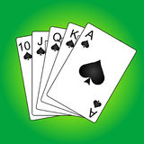 Illustration of playing cards. On green background (royal flush Royalty Free Stock Photos