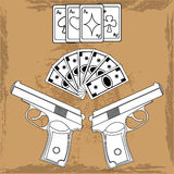 Illustration playing cards, money and two guns vector illustration