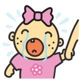 Illustration pleurante de vecteur d'isolement par bébé de bande dessinée Photographie stock