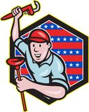 Plumber With Monkey Wrench And Plunger Cartoon. Illustration of a plumber with monkey wrench done in cartoon style set inside hexagon with stars and stripes on Royalty Free Stock Image