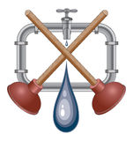 Plumbing Design With Plungers Stock Photo
