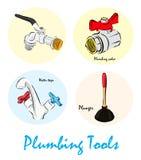 Illustration of Plumbing Tools Stock Photo