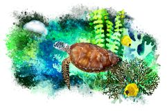 Sea turtle, jellyfish and tropical fish on abstract background. stock photo