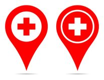 Pointer map pin navigation medical icon red plus symbol royalty free illustration