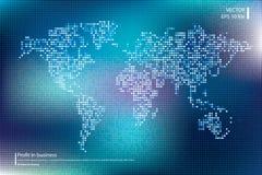 Illustration pointillée de vecteur de carte du monde Concept d'affaires au sujet des éléments globaux de carte du monde Couleurs  illustration de vecteur