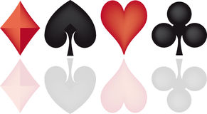 Poker elements. Illustration of 4 poker cards signs Royalty Free Stock Photo