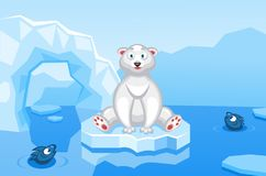 Illustration of a polar bear on an arctic vector background with ice floes, icebergs. Water and fishes vector illustration