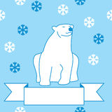 Illustration of a polar bear and snowflakes Royalty Free Stock Image