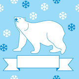 Illustration of a polar bear and snowflakes Royalty Free Stock Images
