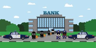 Illustration of a Policeman Chasing a Thief with Stolen Bag. Bank security officer Security Finance Service. Armored. Truck, sheriff s car and Cartoon 2d Stock Image