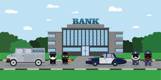 Illustration of a Policeman Chasing a Thief with Stolen Bag.. Bank Security Finance Service. Sheriffs car and Cartoon 2d Collector characters Royalty Free Stock Photography