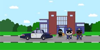 Illustration of a Policeman Chasing a Thief with Stolen Bag.. Police station. Sheriff s car and Cartoon 2d Collector characters Stock Photos