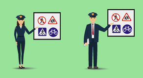 Illustration of a policeman and policewoman showing signage. Police people teaching road signs. Illustration of a policeman and policewoman showing signage Royalty Free Stock Photo