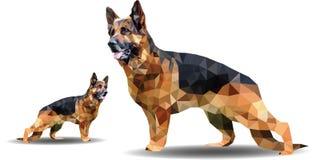 Illustration polygonale de vecteur d'animal Berger allemand géométrique d'ensemble de style d'origami illustration stock