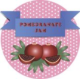 Illustration of pomegranate jam stickers stock illustration